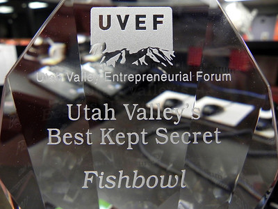 2011/12/8 – Today Fishbowl was recognized as Utah's Best Kept Secret by the Utah Valley Entrepreneurial Forum. This is the nice crystal award we received. A great new prize to add to the other awards we've gotten this year.