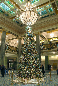 12/12/07 – This is the Christmas tree in the Old Hotel Utah, now the Joseph Smith Memorial Building. This is the lobby of the building. It is east across the plaza from the Salt Lake Temple.