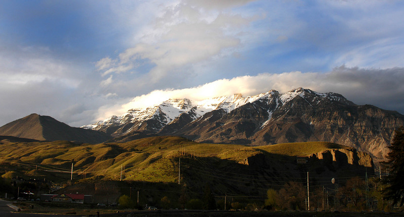 4/9/07 – I was leaving the office late today and the sun was getting ready to set. This is a view of Timpanogos that I normally wouldn't see. The mouth of Provo Canyon is on the right and Baldy (small peak), which is east of our home, is on the far left.