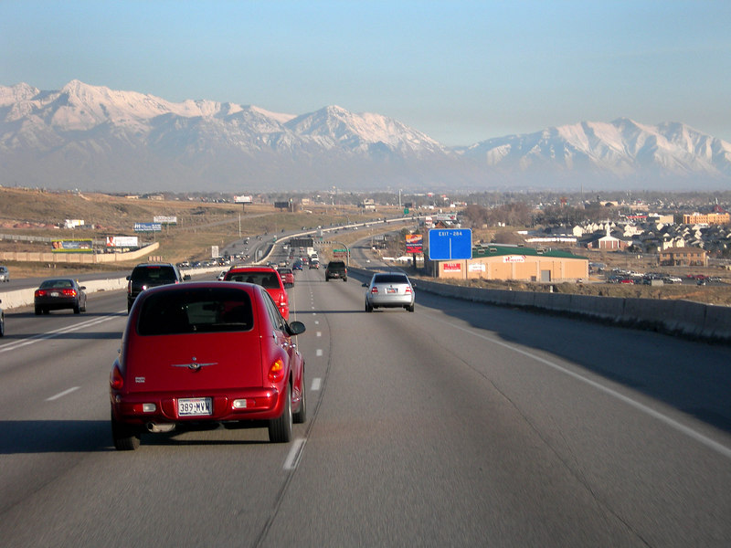 3/12/07 – I was driving home from work realizing I didn't have a shot for today. I don't recommend taking pictures at 70 mph but I did it. This is coming around the point of the mountain that divides Salt Lake Valley and Utah Valley. You are looking at Utah Valley.