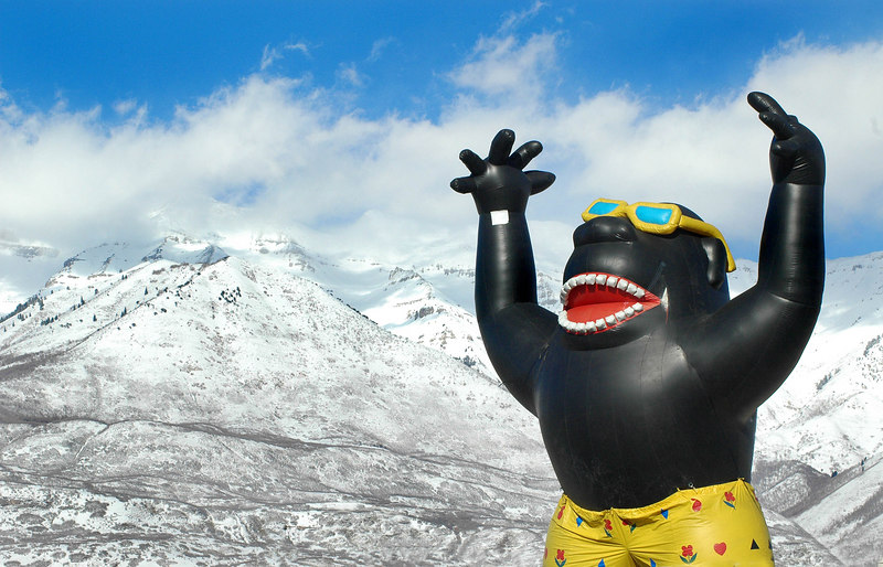 3/2/07 – I was out running a variety of errands when I saw this inflatable giant ape on top of a cellular service building. Superimposed against the freshly snow covered mountains he just seemed dressed wrong in his swim trunks and sunglasses. It was just a fun photo. If he is still there in the summer I'll have to shoot him again.