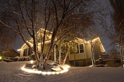 2012-12-26 ––– I love shooting the front yard and house this time of year after we get a fresh layer of snow. This was almost midnight but the sky was overcast and the all the lights in the valley were reflecting off the clouds making it brighter than normal.
