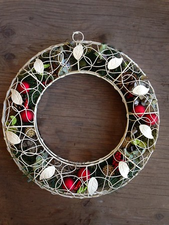 "Wreath Metal - 16"" Vintage Metal Wreath Filled with Botanicals & Holiday Trimmings. Available with Elf Lights too!"