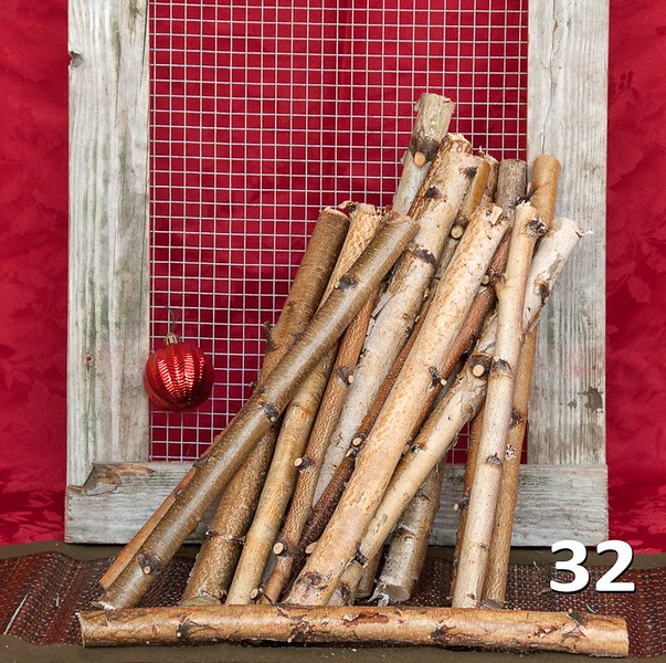 """#32 - Birch branches. Sold in bundles of 20 pieces at 16"""" - 20"""" lengths. Great for decorating your garden center or sold for DIY."""