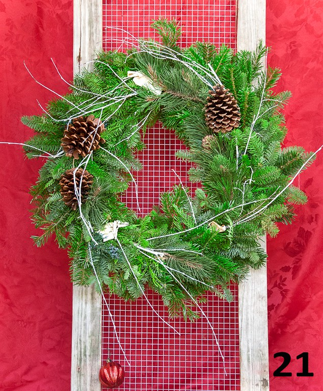"""#21 - 16"""" round wreath of fresh PNW greens, cones & twigs. Outside diameter is approximately 22""""."""