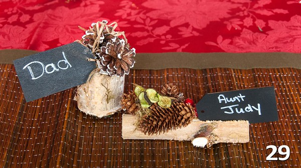 #29 - Place card holder holiday~ <br>Use them for seating arrangements or on the food table to denote things like Vegan or Gluten Free or HOT! Use them wherever you need to let others know a little somethin'-somethin'. Sold in sets of 2.