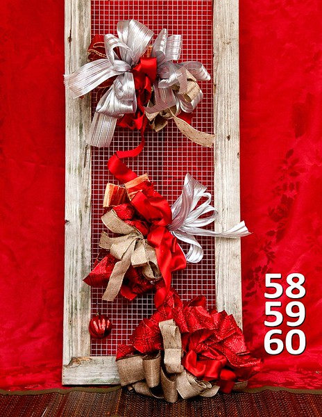 #58, 59 60 - #40 size bows sold in bags of 6. Options are solid red ribbon or patterned ribbon or glittery ribbon. All are made on florist wire so they are easily attachable to any item.