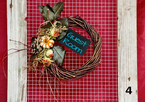 """#4 - 9"""" Twig round wreath with Fall accents & chalkboard tag."""