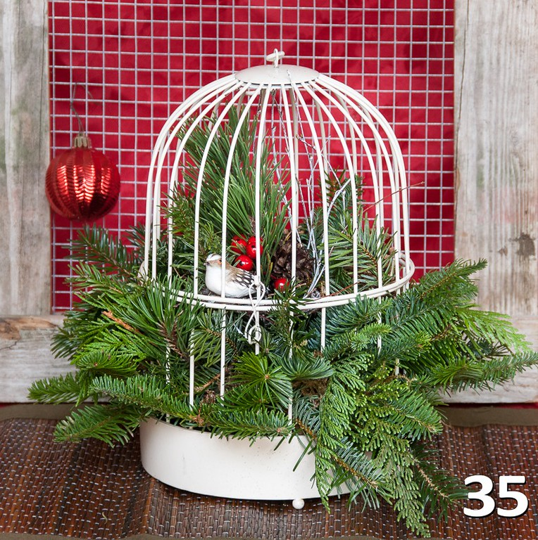 #35 - Large vintage ivory birdcage with PNW fresh greens and seasonal decor.
