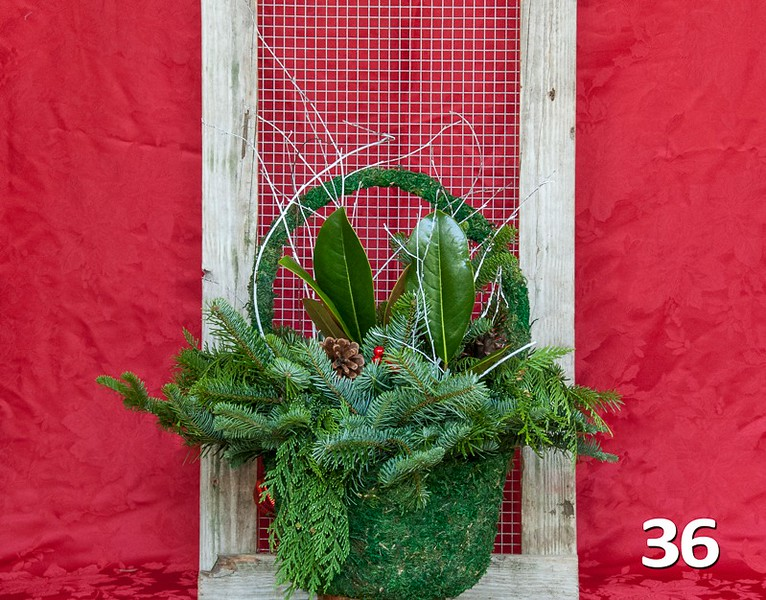 #36 - Large moss basket full of PNW fresh greens and seasonal accents.