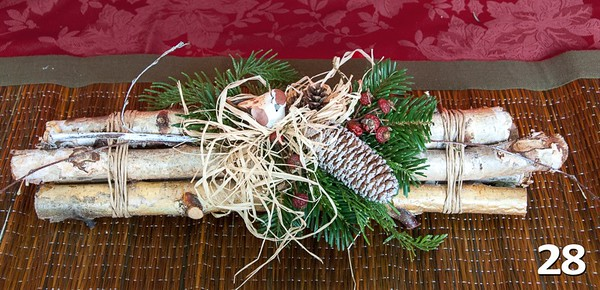 #28 - Birch branch bundle with dash of PNW greens and seasonal decor. Great for the mantle, in front of the fire or at the front entry.