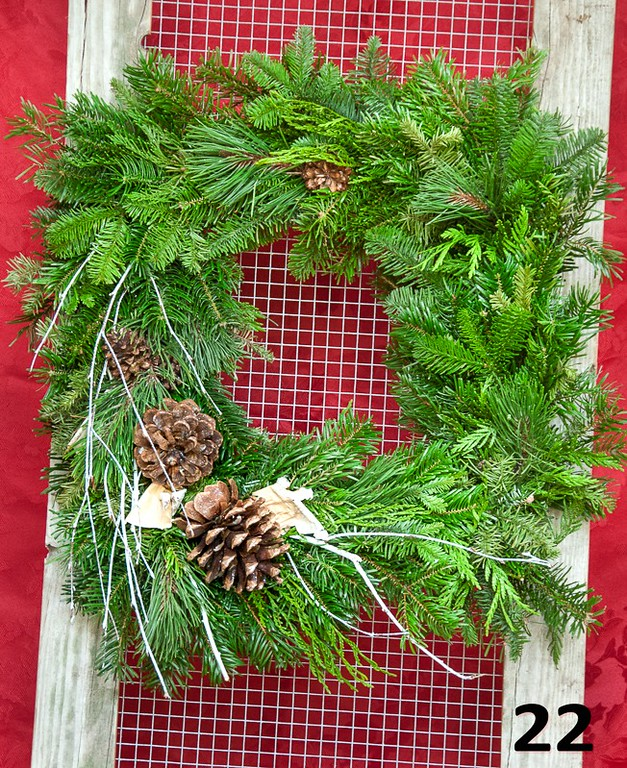 """#22 - 12"""" square wreath of fresh PNW greens, cones & twigs. Outside diameter is approximately 17""""."""