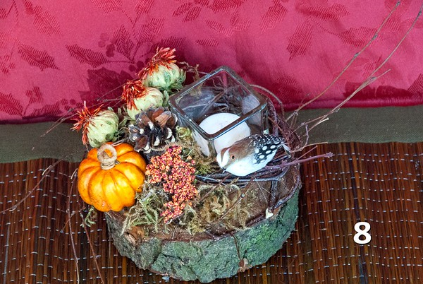 #8 - Wood Slice with Fall decor and candle. Great gift or perfect for an end table.