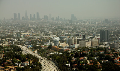 View of Los Angeles from the Getty Museum. Hollywood on the lower right (with the white, round Capitol Records building) and downtown L.A. through the haze.