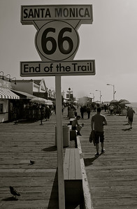 Technically the Santa Monica Pier is not the real end of Route 66. Route 66 ends a block away from the pier at the intersection of Santa Monica Blvd. and Ocean Avenue.