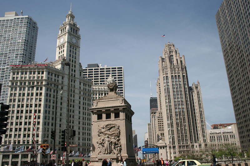 Looking across the Michigan Ave. bridge to Wrigley Building (left with clock) and Tribune Tower (right).