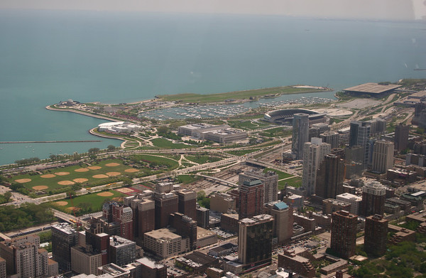 View from the Sears Tower.  Museum Campus, Meigs Field along water. Soldier Field on the right.