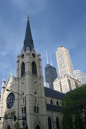 Holy Name Cathedral with the John Hancock Building behind it.