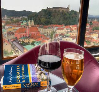 Ljubljana Castle looming 1,200 feet above the magical Old Town of Ljubljana, Slovenia
