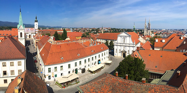 View of Zagreb from atop the 13th century Lotrščak Tower