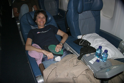 Delta business class...love those frequent flier miles!