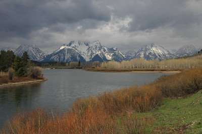 Clouds hugging the Teton Range and the Snake River