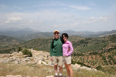 Amid the ruins of Mycenae, which date back to 1500BC!