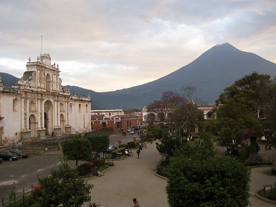 Catedral de Santiago in Parque Central and Agua Volcano Antigua Guatemala