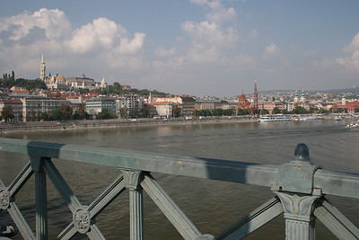 Crossing the chain bridge from Pest into Buda