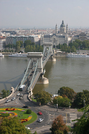 Looking back at the Chain Bridge and St. Stephen's