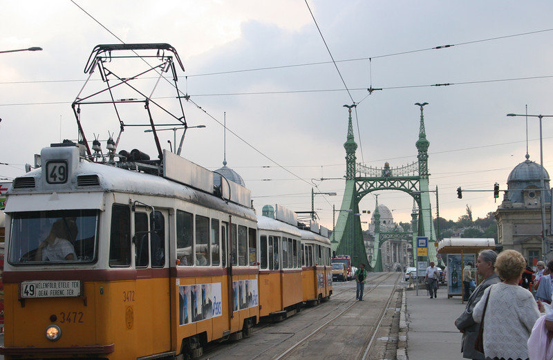 The tram crossing Freedom Bridge