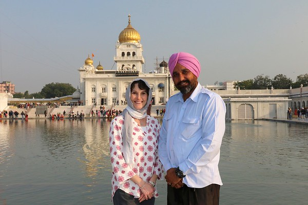 Visiting the Sikh Temple Gurudwara Bangla Sahib with our driver and friend, Bal