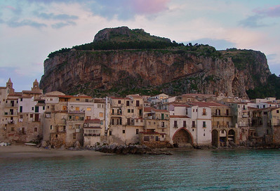 La Rocca looming over the beautiful town of Cefalu