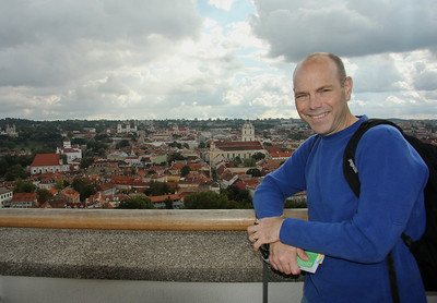 Overlooking the many beautiful churches and red rooftops of Vilnius