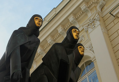 Three Muses These figures stand atop the Lithuanian National Drama Theatre on Gediminas Avenue. They represent drama, comedy and tragedy. -Vilnius, Lithuania