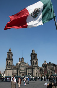 Standing in the Zocalo (public plaza) which has been the heart of the city since 1325.