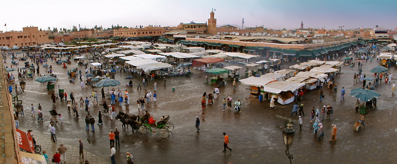 Djemaa El Fna - the centuries-old carnivalesque open square in the center of the medina. Snake charmers, fortune tellers, dancers...are just some of the things you see here...and hundreds of locals gathering every evening.