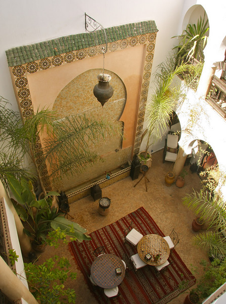 The courtyard of the riad where we stayed in Marrakech,  Riad Mur Akush.