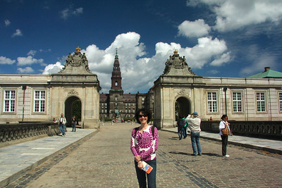 At the entrance to Christiansborg Palace Copenhagen, Denmark