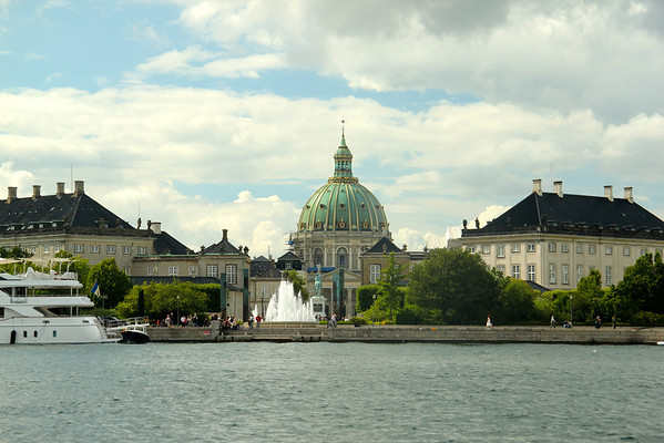 Marble Church and the Rococco-style buildings that make up Amalienborg Palace as seen from the Opera House. Copenhagen, Denmark