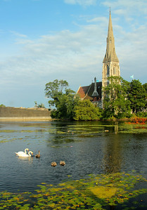 The peaceful park setting of St. Alban's Church (1885) on the grounds of the Kastellet citadel. Copenhagen, Denmark
