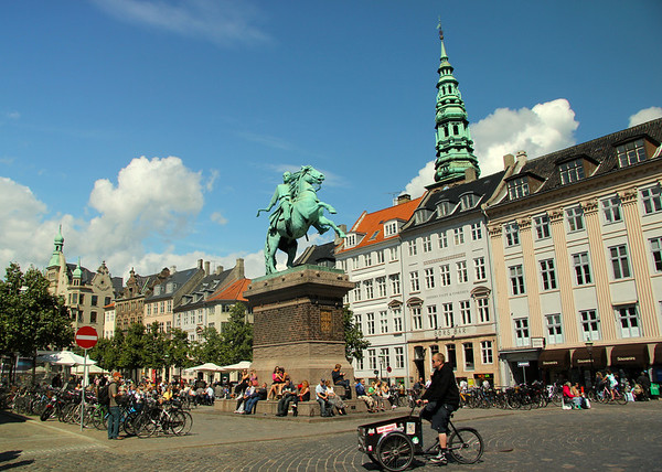 The public square of Højbro Plads featuring an equestrian statue of Absalon, the warrior-bishop who has traditionally been credited as the founder of Copenhagen.  He is looking towards Christiansborg Palace on Slotsholmen where he built his castle in 1167. ---Copenhagen, Denmark