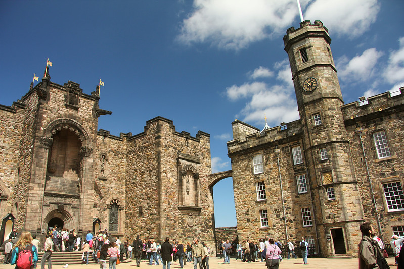 Crown Square at Edinburgh Castle - served as the main courtyard for the castle. It dates from the 15th Century. Scottish National War Memorial (left) and Royal Palace (right)