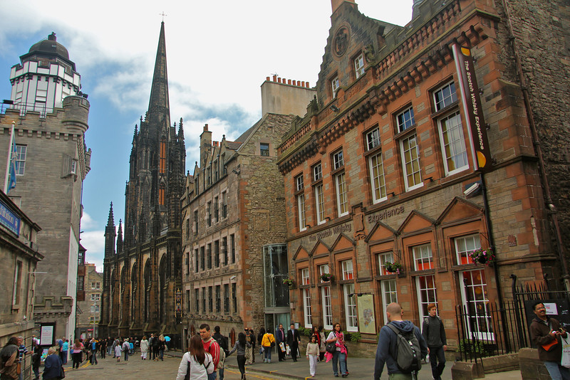 Outside the gates of Edinburgh Castle looking down the Royal Mile