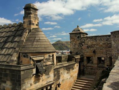 Arthur's Seat peeking through walls of Edinburgh Castle