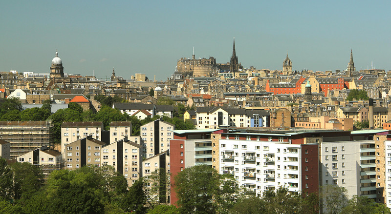 Great view from the Salisbury Crags! Edinburgh Castle (top center) and the spires along the Royal Mile.