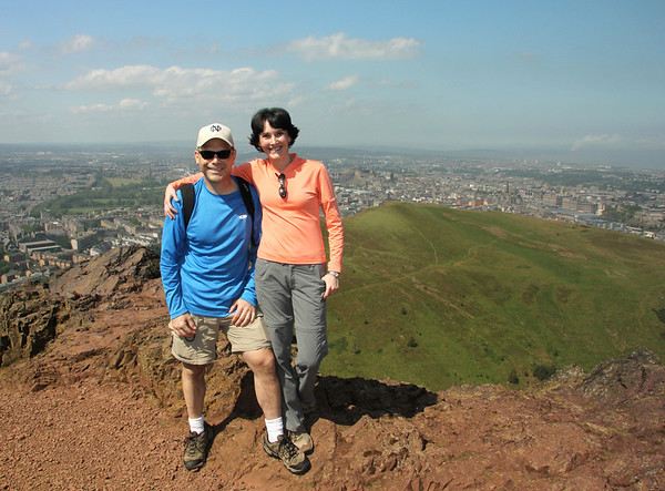 Enjoying the awesome view from the top of Arthur's Seat!