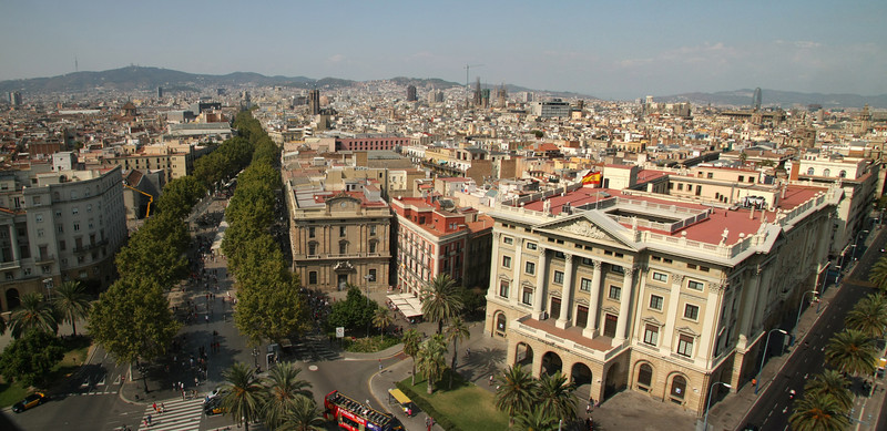 A great view of Barcelona! The tree lined street is Las Ramblas.  It is a bustling pedestrian mall running from the Port to Plaza Catalunya in the heart of the city.