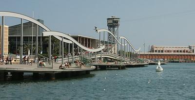 This is a wooden boardwalk called Rambla de Mar.