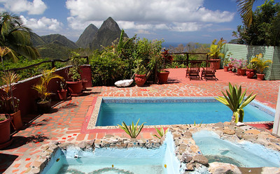 The deck of our room at Crystals Hotel Soufriere, St. Lucia